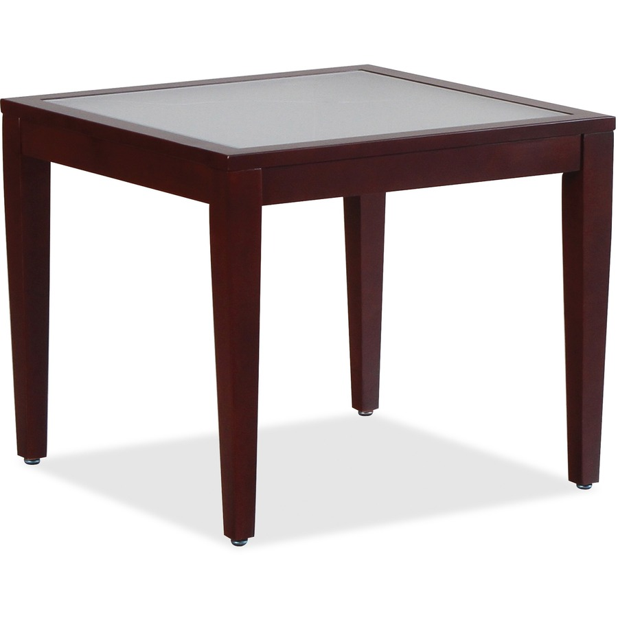 Llr59541 Lorell Glass Top Mahogany Frame Table Square Top Four Leg Base 4 Legs 23 60 Table Top Length X 23 60 Table Top Width X 0 20 Table Top