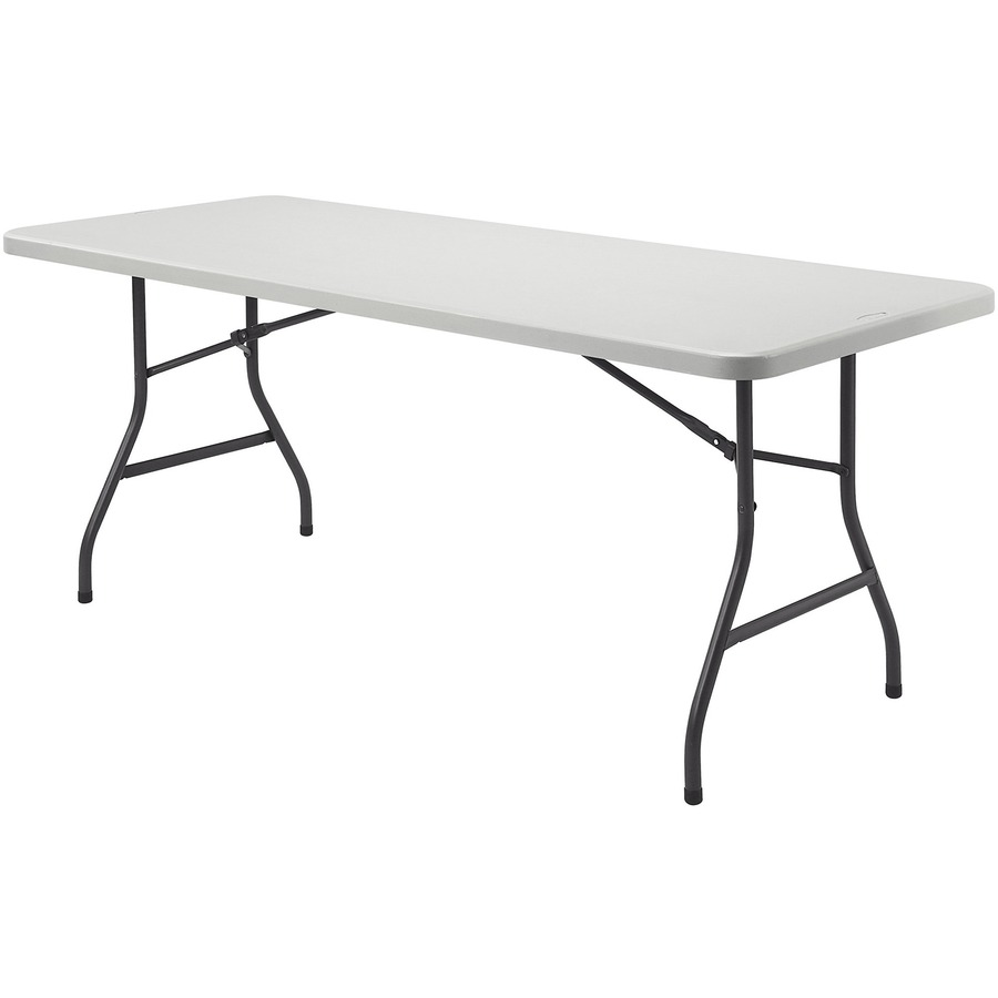 Lorell Rectangular Banquet Table Rectangle Top Powder Coated Folding Base 60 Table Top Width X 30 Table Top Depth X 2 Table Top Thickness 29 Height Platinum Gray Servmart