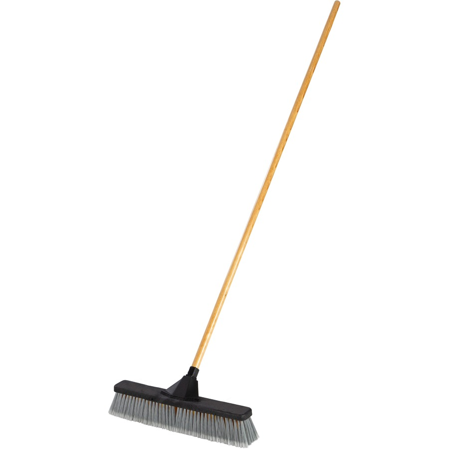 Rcp2040055 Rubbermaid Commercial Anti Twist 18 Push Broom 3 Resin Bristle 62 Handle Length Lacquered Wood Handle 1 Each Office Supply Hut
