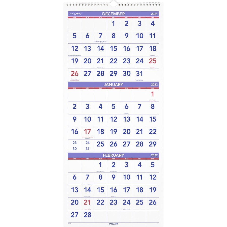 At A Glance Wall Calendar 2022.At A Glance 3 Month Reference Wall Calendar Monthly 1 2 Year December 2020 Till January 2022 3 Month Single Page Layout 12 1 4 X 27 Sheet Size Wire