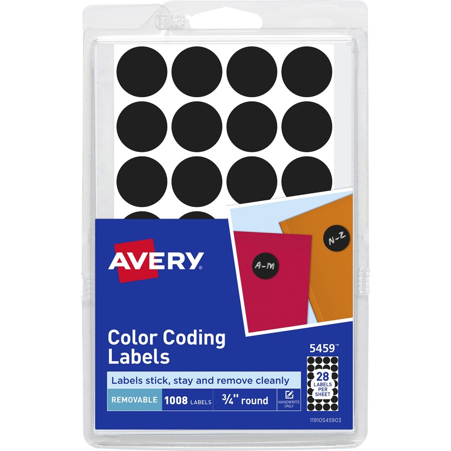 """Avery 5472 COLOR CODING CIRCLE 1008 LABELS 3//4/"""" ROUND REMOVABLE LASER INKJET"""