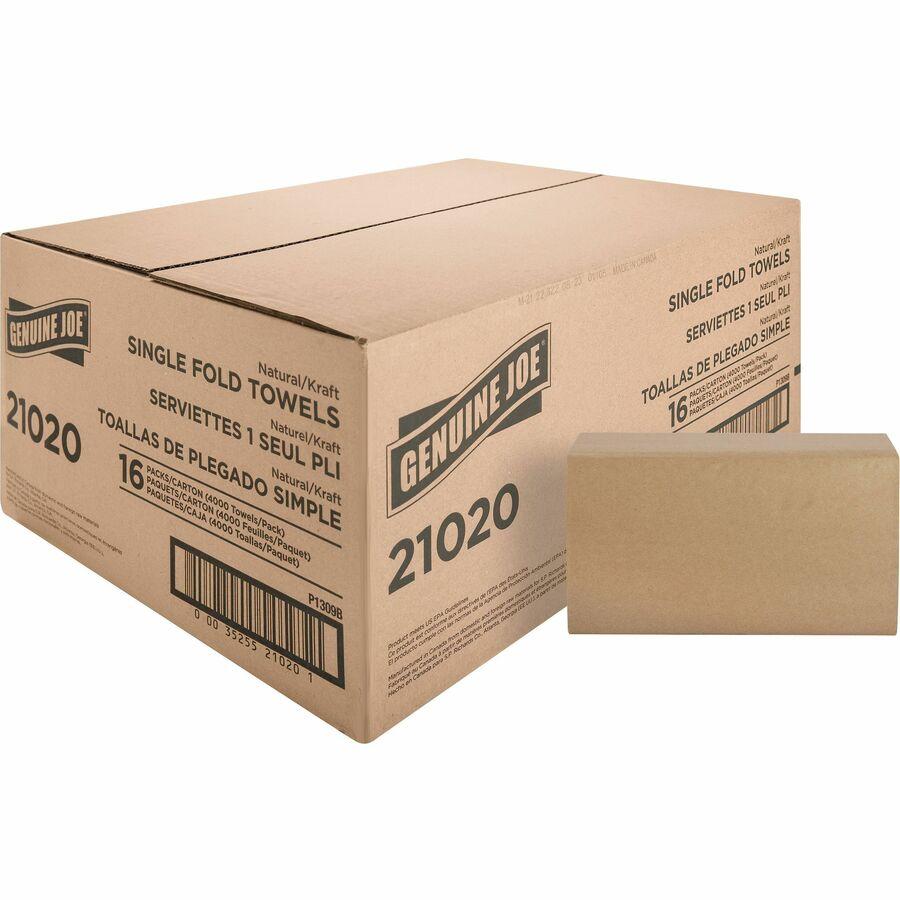 Genuine Joe GJO21040 Multifold Natural Towels 9.25 x 9.40
