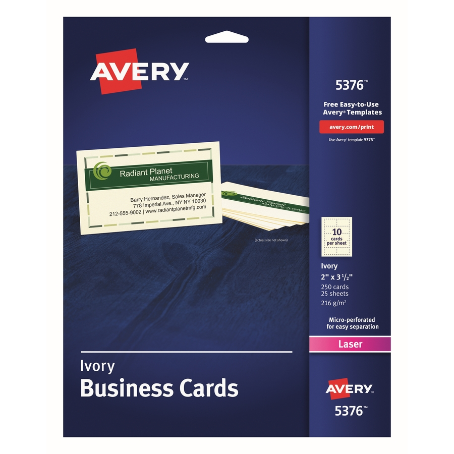 Avery 5376 avery business card ave5376 ave 5376 office supply hut avery laser print business card a8 2 x 3 12 250 pack ivory fbccfo Images