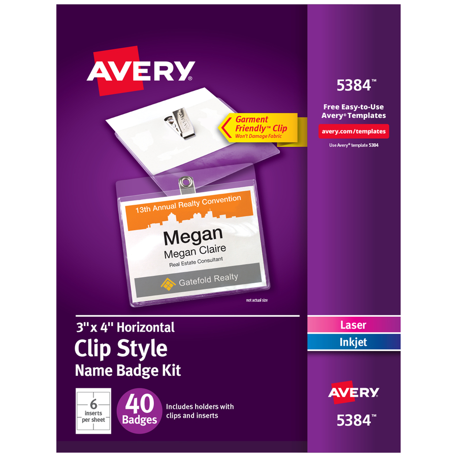 Avery Avery Name Badge Kit AVE AVE Office Supply Hut - Officemax name badge template