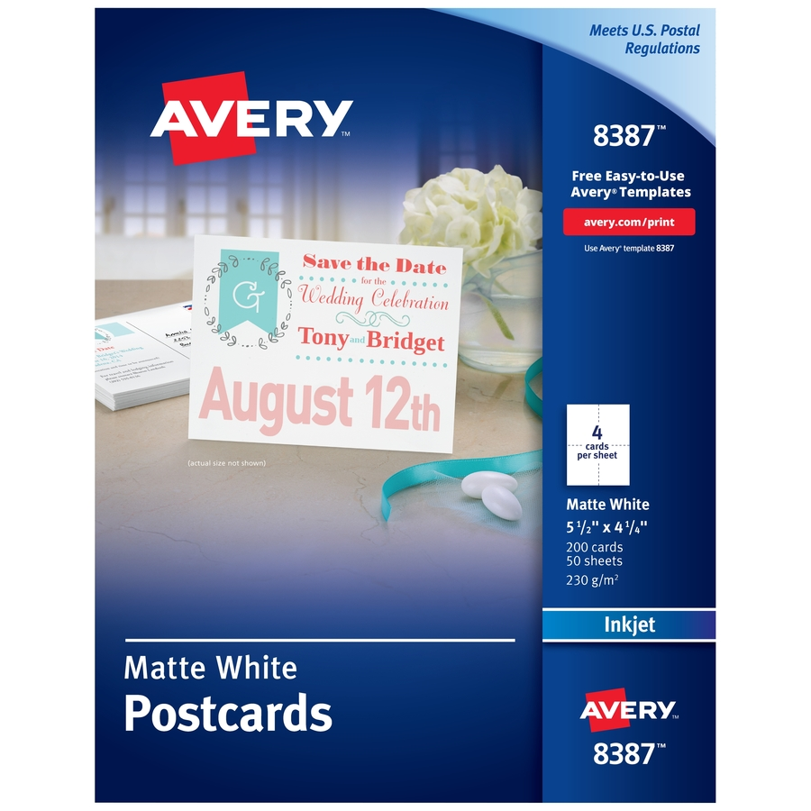 """Avery® Postcards, Matte, 2-Sided Printing, 4-1/4"""" X 5-1/2"""