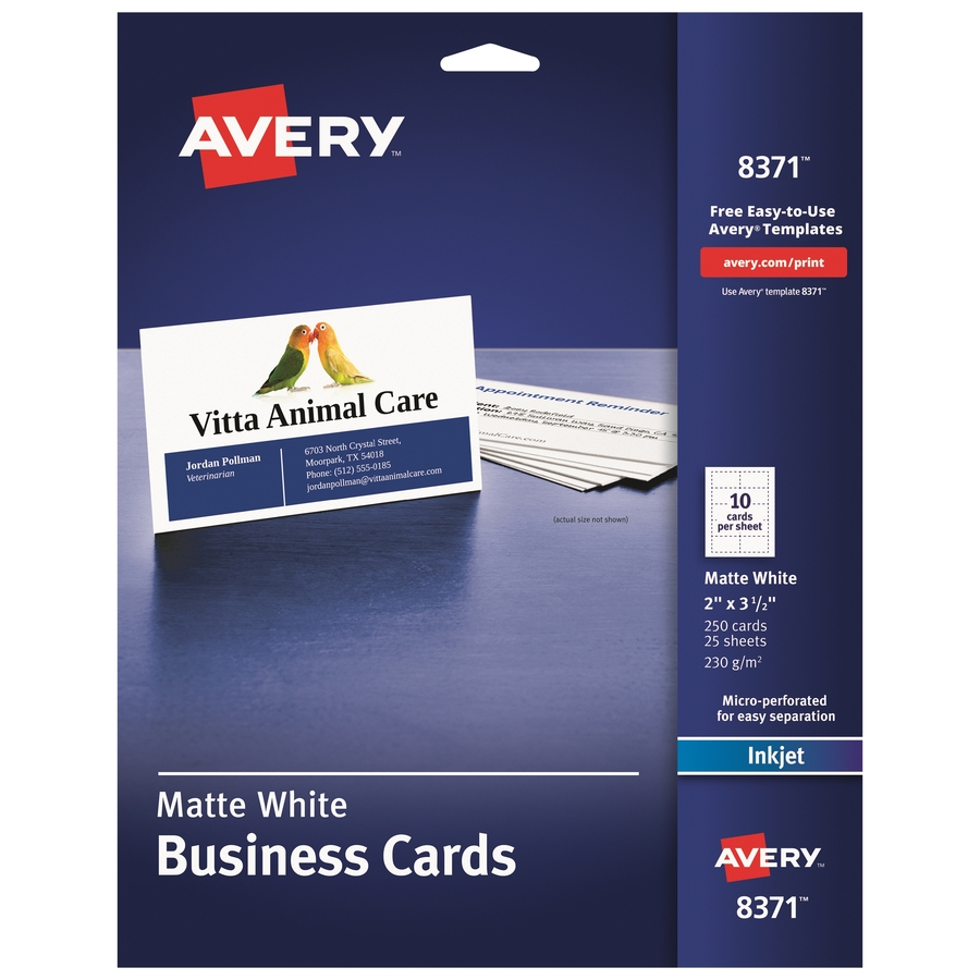 avery microperforated inkjet business cards ave8371