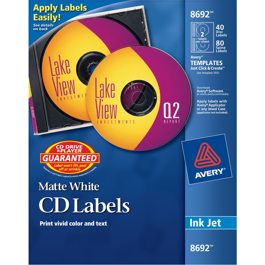 photograph about Printable Cd Labels identify Avery CD Labels, InkJet Printable, Matte White - 40 Labels
