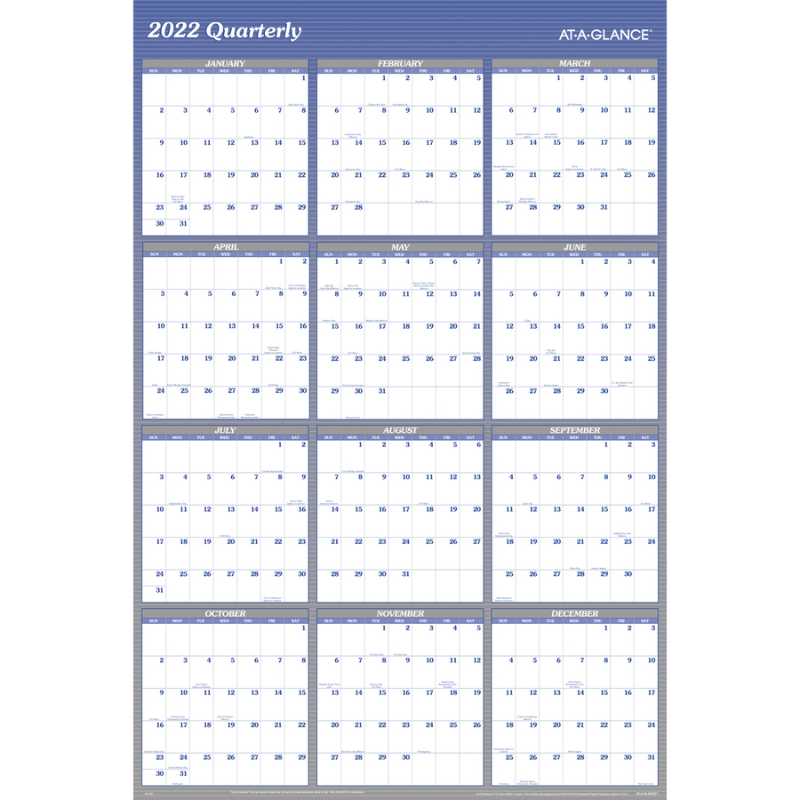 At-A-Glance Erasable/Reversible Yearly Wall Planner - Monthly, Quarterly - 1 Year - January 2020 till December 2020 - 48