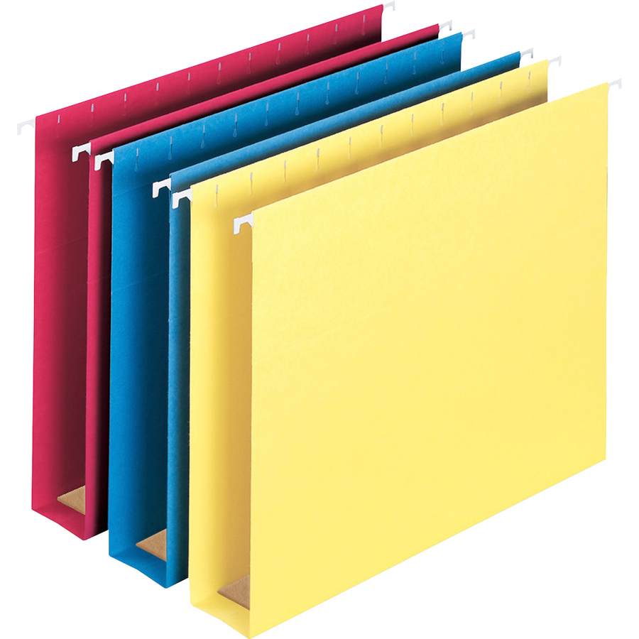 Smead Manufacturing Company Smead Colored Hanging Box Bottom Folders -  Letter - 8 1/2 X 11 Sheet Size - 2 Expansion - 1/5 Tab Cut - Blue, Red,  Yellow