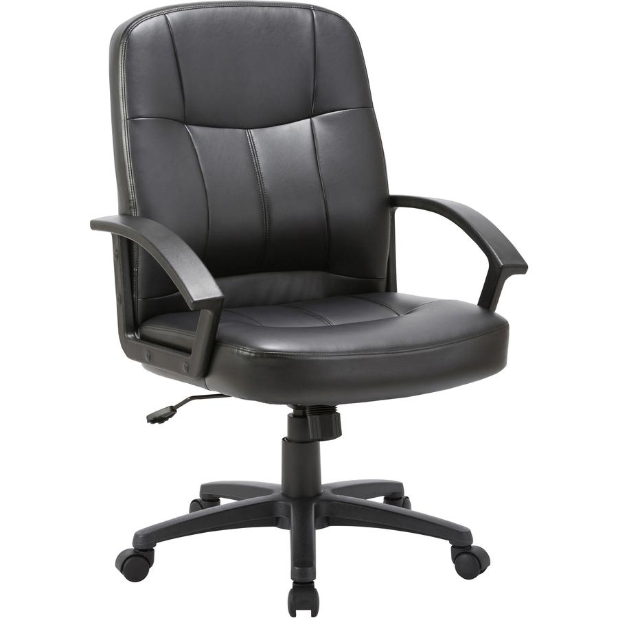 Astonishing Lorell Chadwick Managerial Leather Mid Back Chair Leather Black Seat Black Frame 5 Star Base Black 21 50 Seat Width X 19 50 Seat Depth Spiritservingveterans Wood Chair Design Ideas Spiritservingveteransorg
