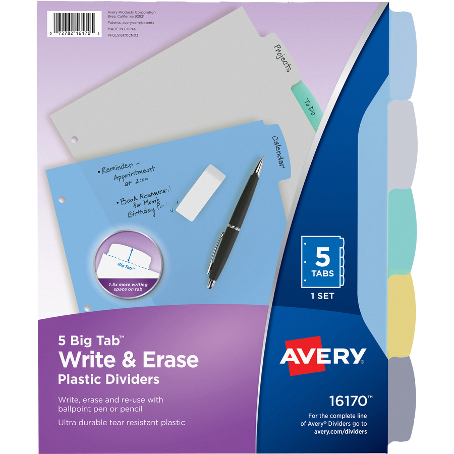 Letter 5-Tab 1 Set Avery 16176 Multicolor Write-On Big Tab Dividers W// Pocket
