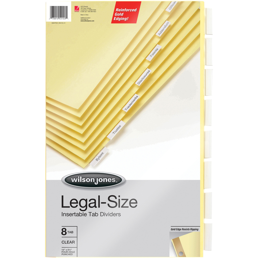 Acco wilson jones legal size 4 hole index dividers for Templates wilson jones 8 tabs
