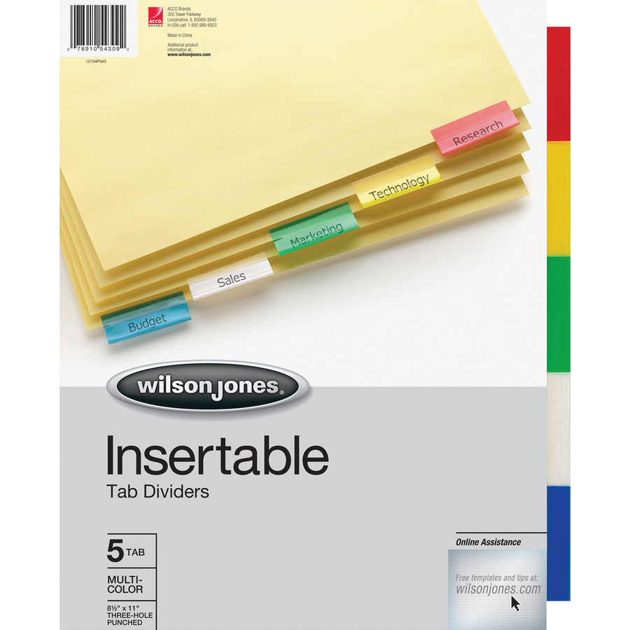 Acco/Wilson Jones 54309, Wilson Jones Insertable Tab Indexes ...