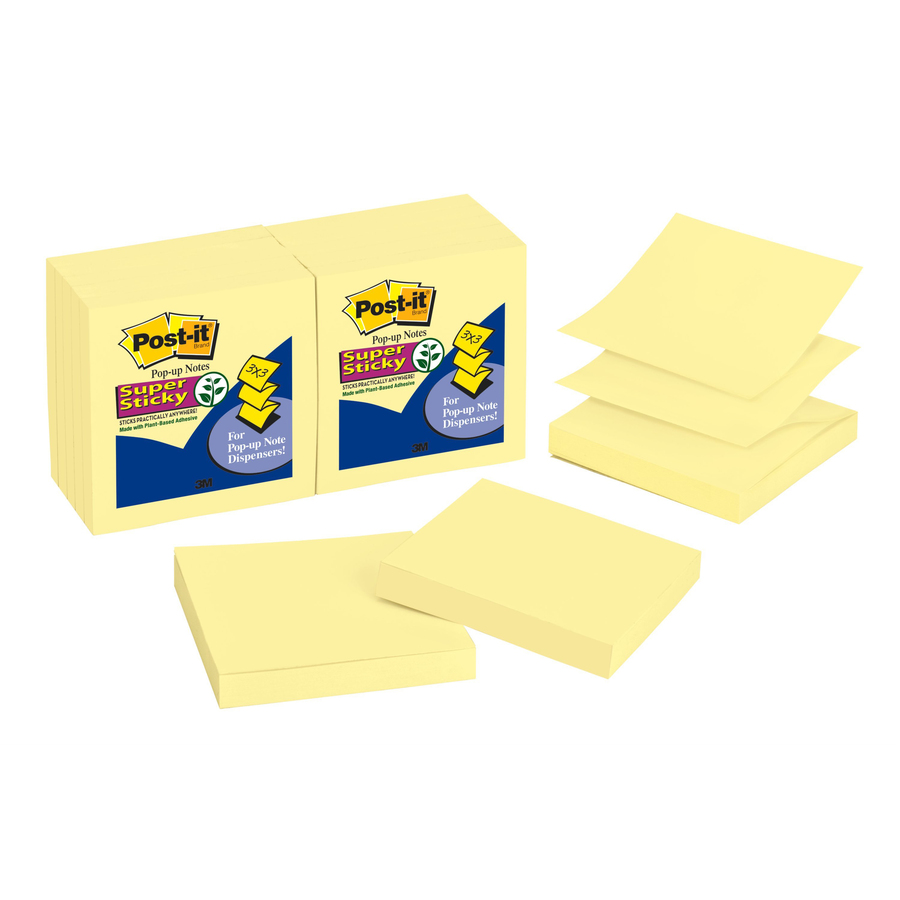 Post It Super Sticky Pop Up Notes 3 X Canary Yellow 1080 Square 90 Sheets Per Pad Unruled Paper Self Adhesive