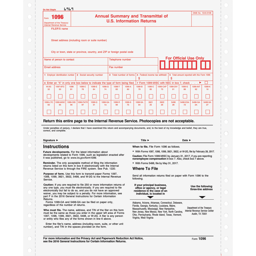 "TOPS 1096 Tax Form 2 Part - Carbonless Copy - 8 1/2"" x 11"" Sheet Size -  White Sheet(s) - 10 / Pack"