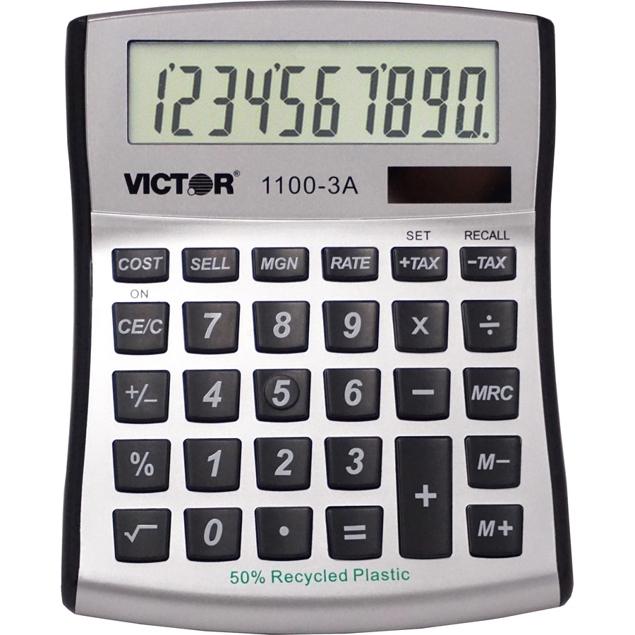 Victor 11003A Mini Desktop Calculator - Large Display, Angled Display, Dual  Power, Antimicrobial, Independent Memory, Environmentally Friendly,