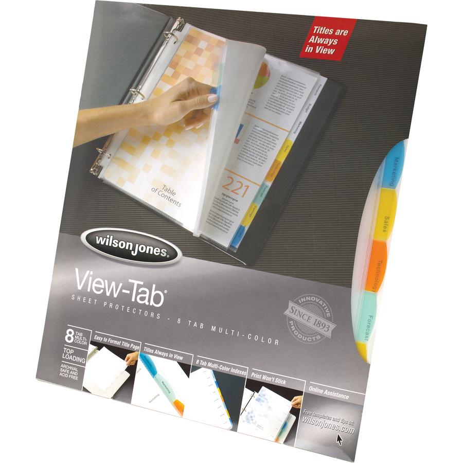 Wilson Jones® View-Tab® Sheet Protectors, Easy Organize, 8 Multi ...