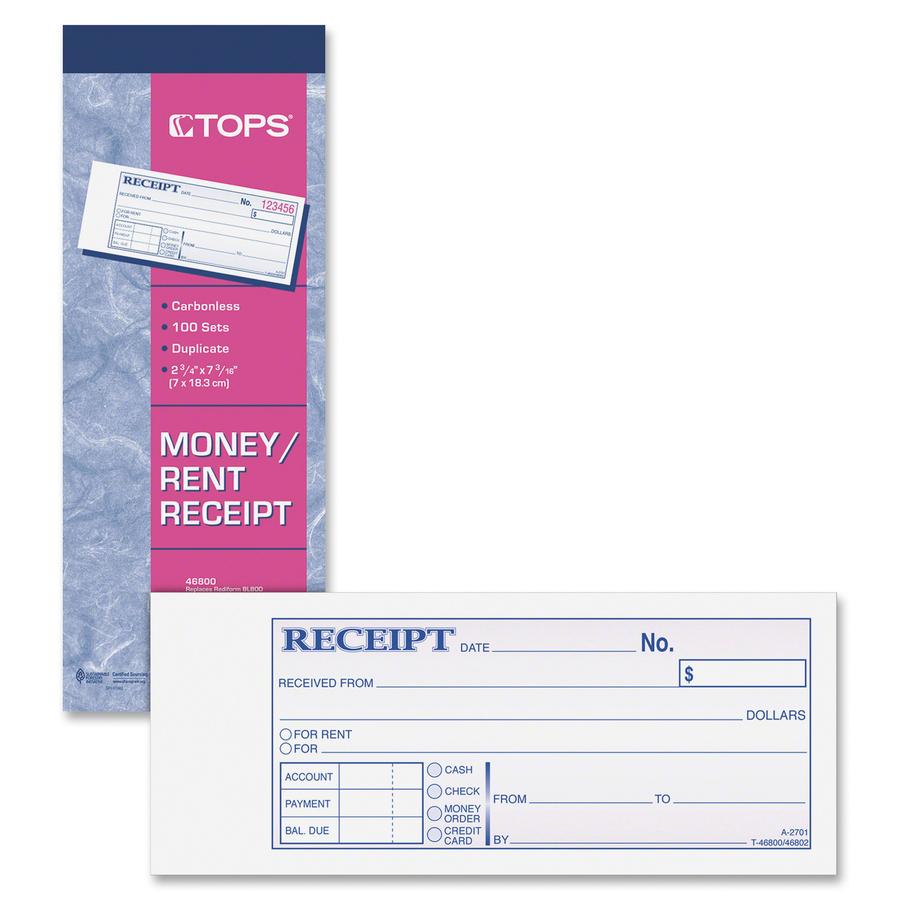 Carbonless Duplicate 2 3//4 x 7 100 Sets//Book Rediform 8L800 Money Receipt Book