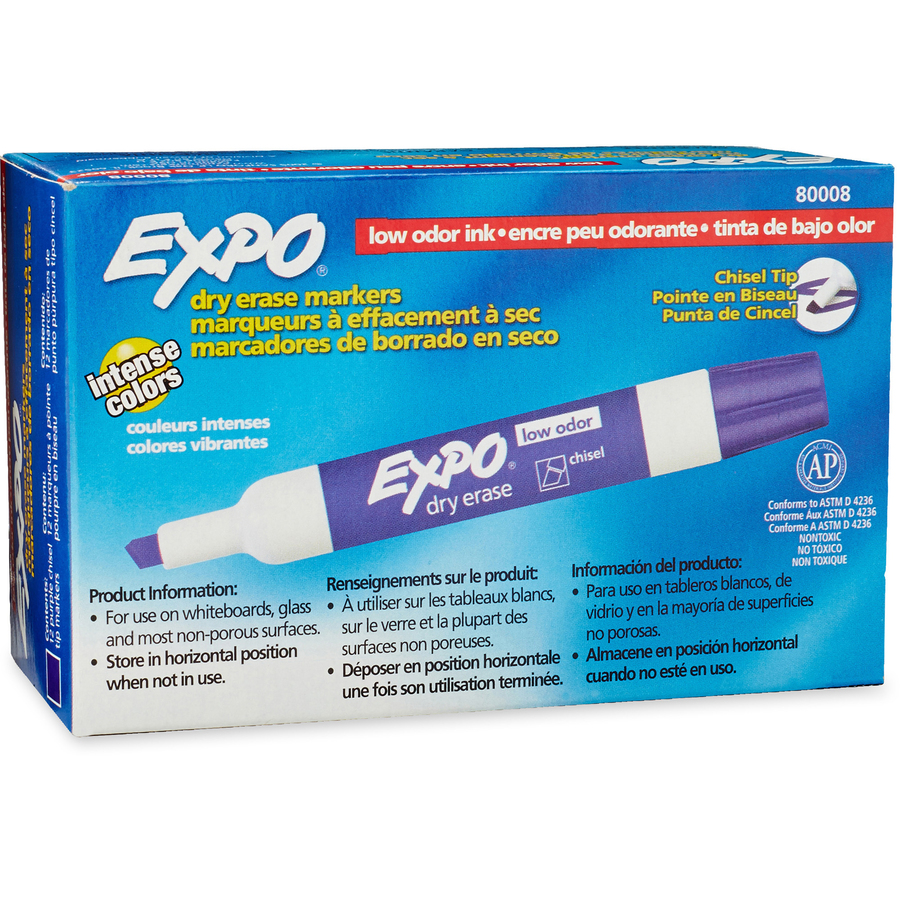 EXPO Large Barrel Dry-Erase Markers - Chisel Marker Point Style - Purple - 12 / Dozen