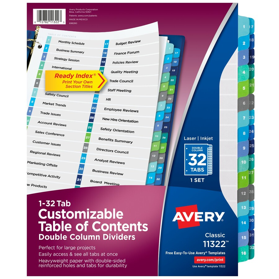 Avery® Ready Index Double-Column Dividers