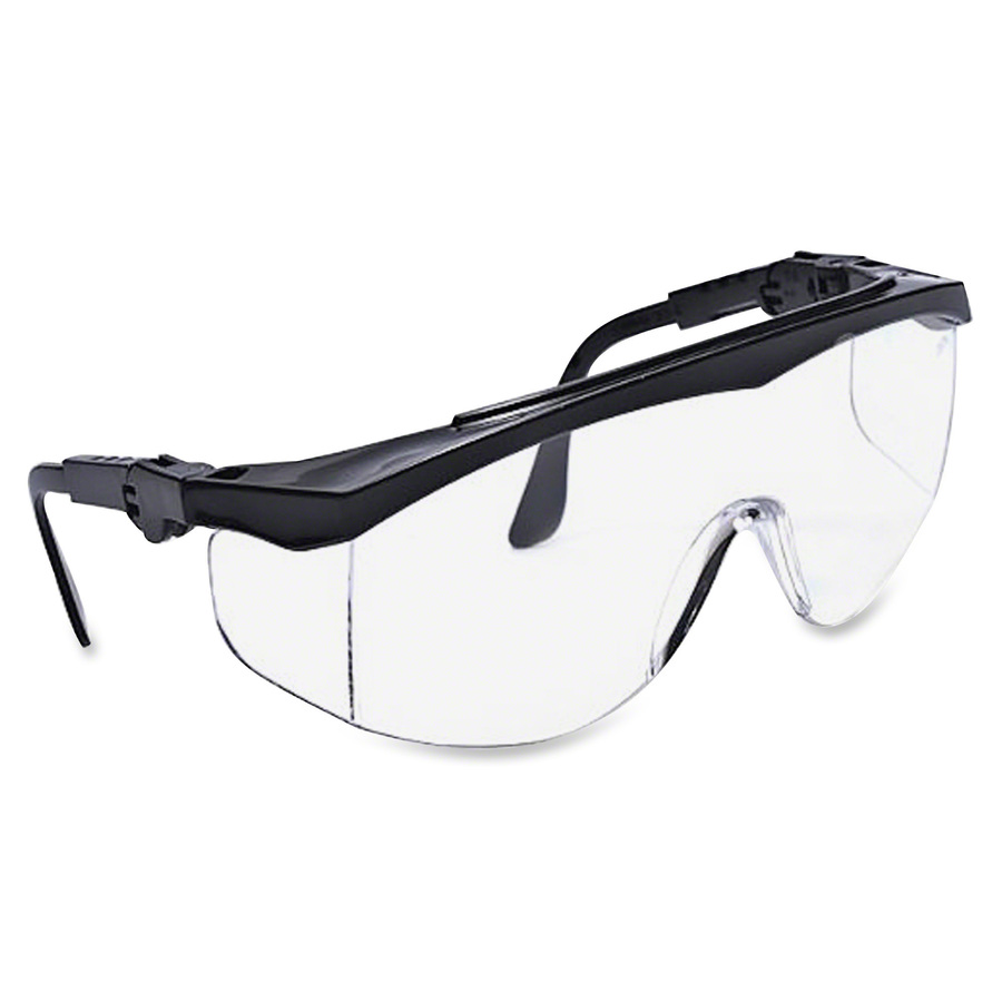 MCR Safety Tomahawk Adjustable Safety Glasses - Adjustable - Ultraviolet Protection - Nylon Frame - Black, Clear - 12 / Box