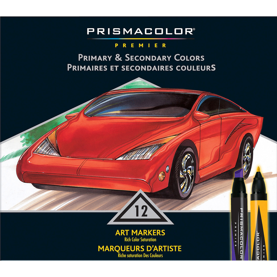 Sanford L P Prismacolor Double Ended Art Markers Fine Marker Point Chisel Marker Point Style Assorted 12 Set