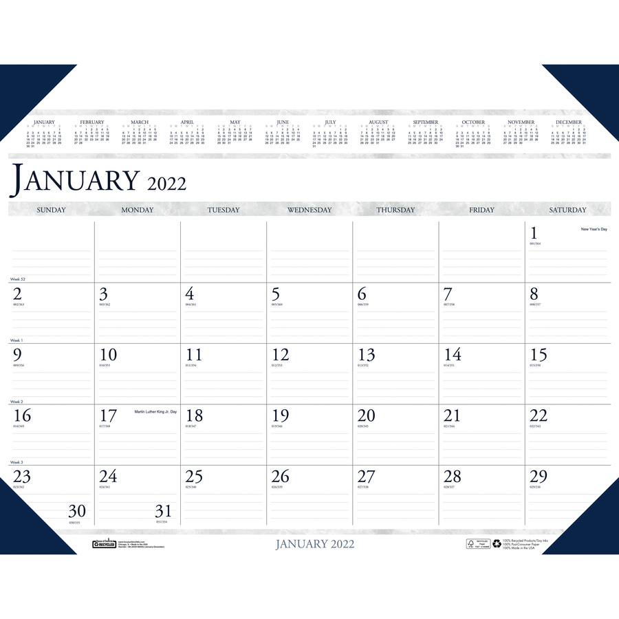 House of Doolittle Eco-friendly Executive Calendar Desk Pad - Yes - Monthly - 1 Year - January 2020 till December 2020 - 1 Month Single Page Layout - 24