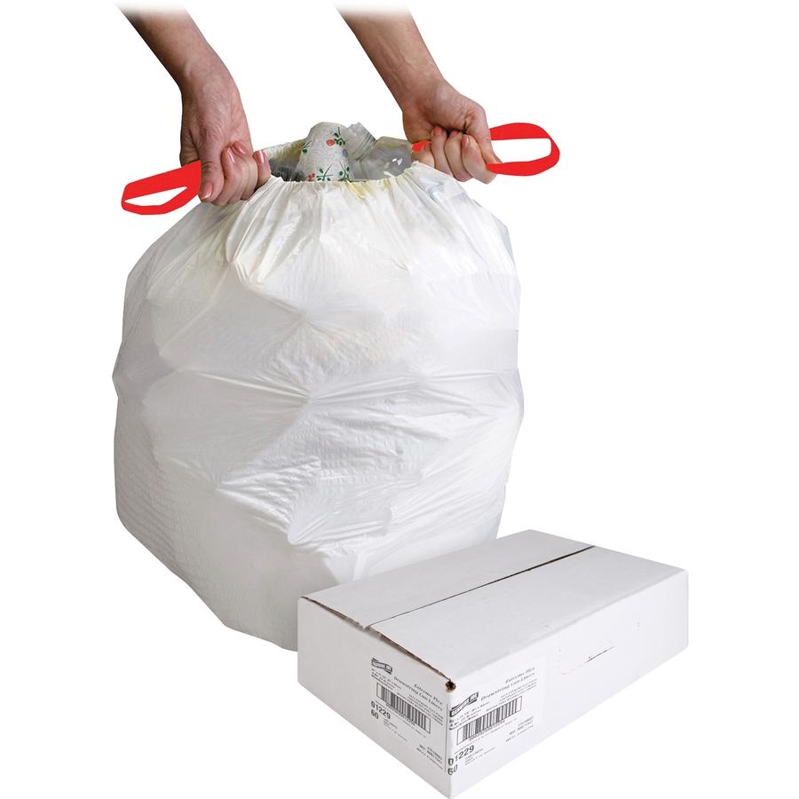 Genuine Joe White Flex Drawstring Trash Liners - Small Size - 13 gal - 24