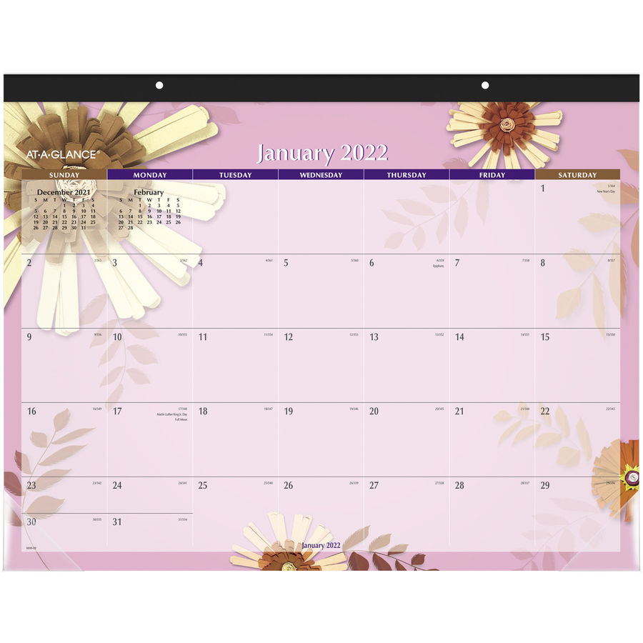 2019 2020 Floral Desk Calendar: At-A-Glance 5035, Visual Organizer Flowers Desk Pad