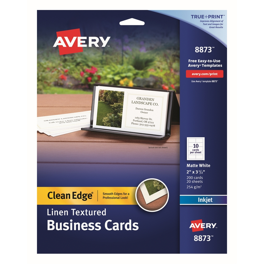 Avery 8873 avery clean edge inkjet business card ave8873 ave 8873 avery business card a8 2 x 3 12 matte 200 pack white flashek Images