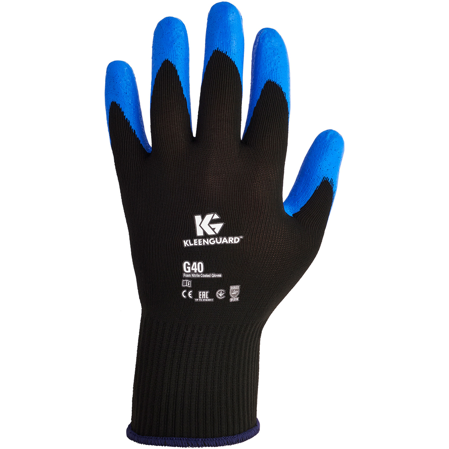 KleenGuard G40 Foam Nitrile Coated Gloves - Nitrile Coating - 7 Size Number - Small Size - Blue - Washable, Silicone-free - For Multipurpose, Assembling, Metal Handling, Glass Handling, Wood Handling, Automobile/Aviation Industry - 24 / Pack