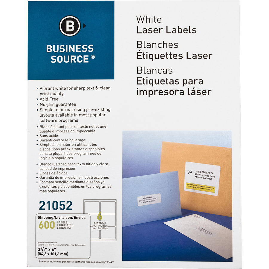 Business Source Bright White Premium-quality Address Labels - Permanent  Adhesive - 3 1/3