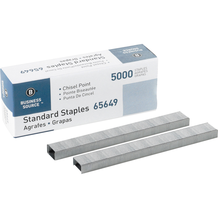 Business Source Chisel Point Standard Staples - 210 Per Strip - 1/4 Leg -  1/2 Crown - Holds 30 Sheet(S) - Chisel Point - Silver - 5000 / Box