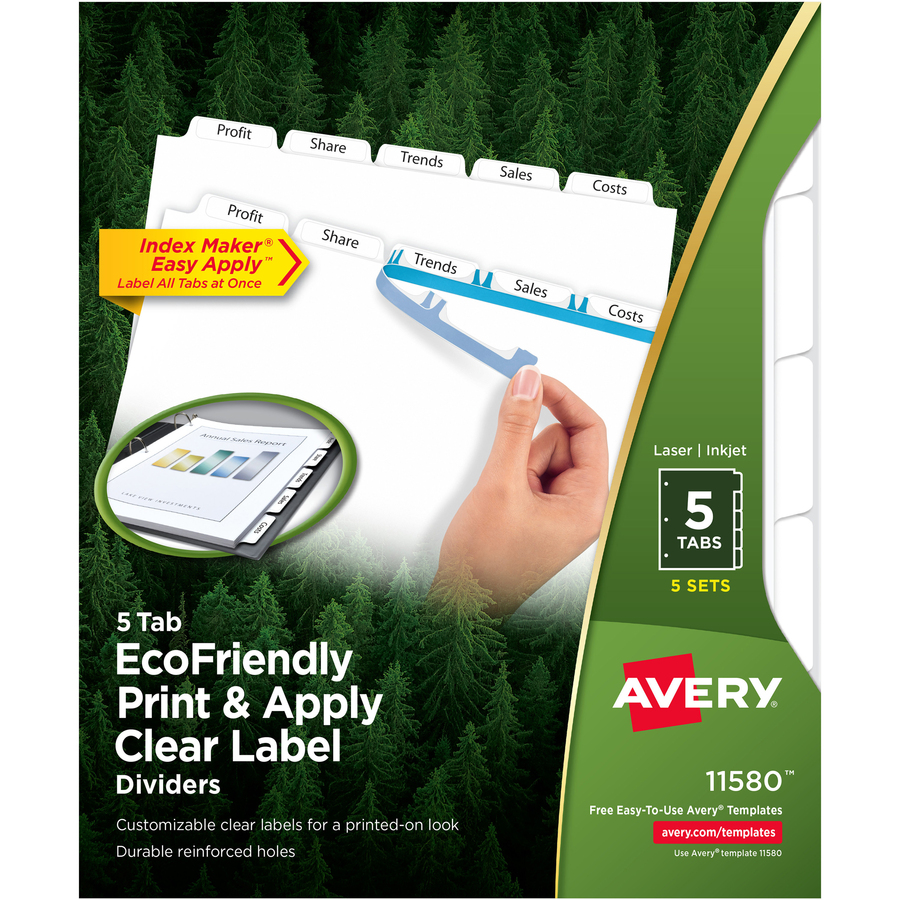 Avery Index Maker Ecofriendly Print Apply Clear Label Dividers