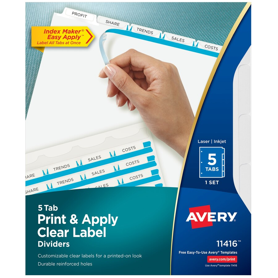 Avery Index Maker Print Apply Clear Label Dividers With White