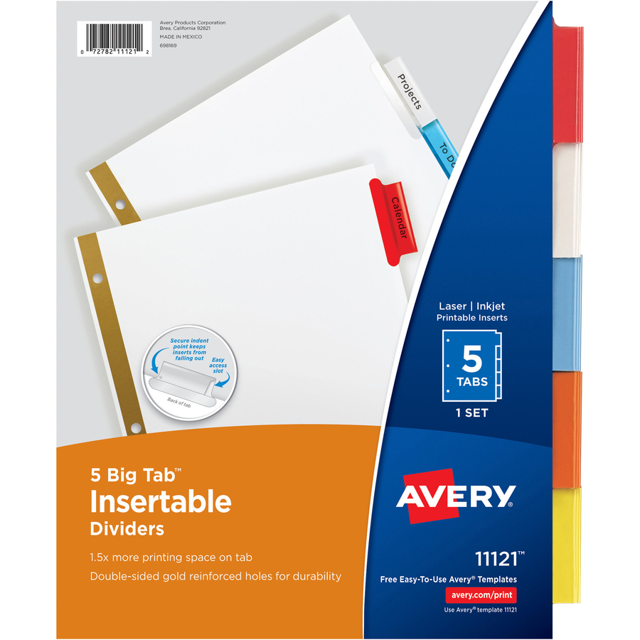 5 Multicolor Tabs Avery Big Tab Insertable Extra-Wide Dividers 1 Set Durable