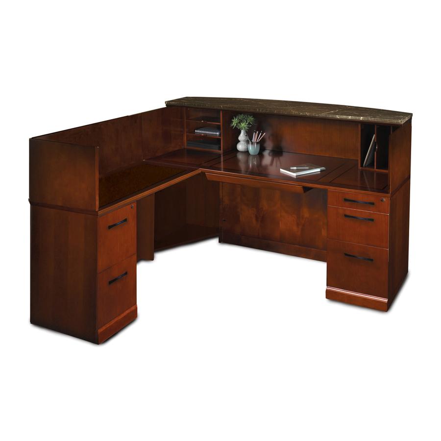 Mayline Sorrento Srcslm Marble Top Reception Desk With Left Hand Return 72 X 39 X 45 48 X 20 X 43 5 Material Hardwood Finish Bourbon Cherry Cherry Veneer