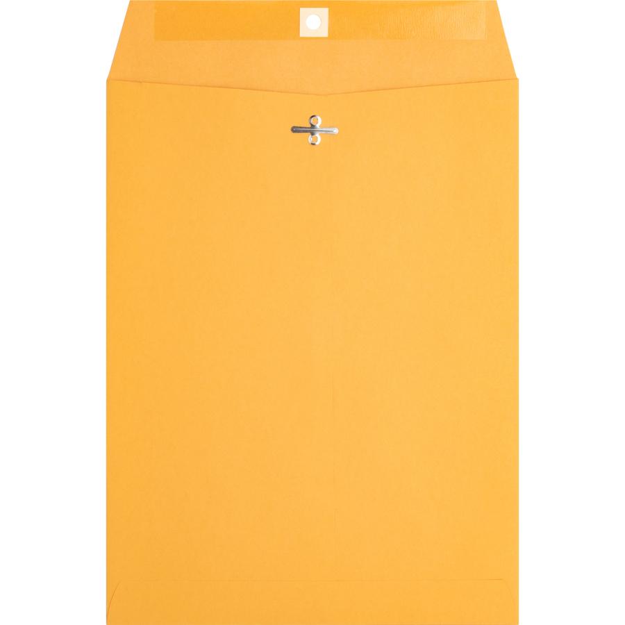 Business Source Heavy Duty Clasp Envelopes 90 9 Width X 12 Length 28 Lb Kraft 100 Box