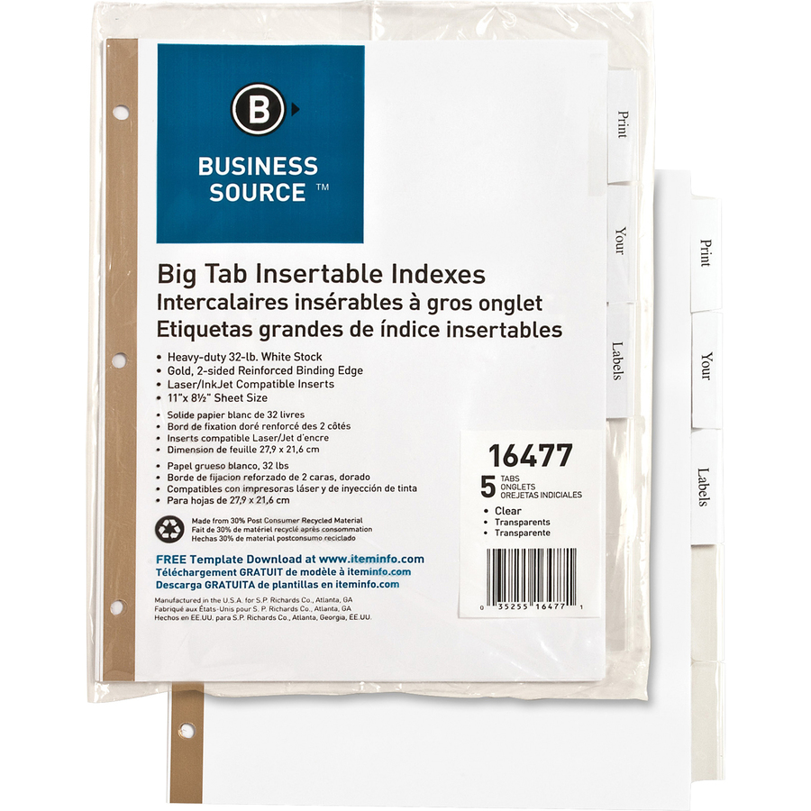business source tear resistant clear tab index dividers mac papers inc