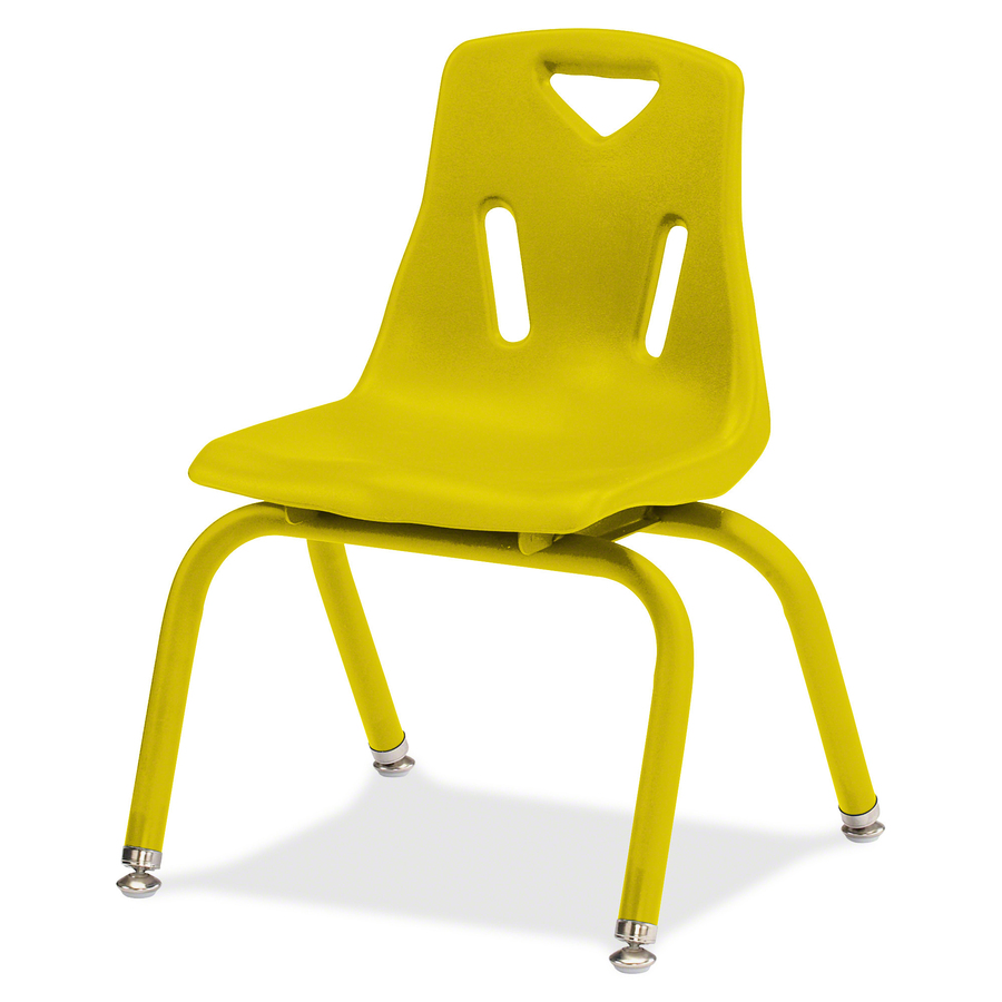 Berries Stacking Chair Steel Frame Four Legged Base Yellow Polypropylene 19 5 Width X 21 Depth X 29 5 Height