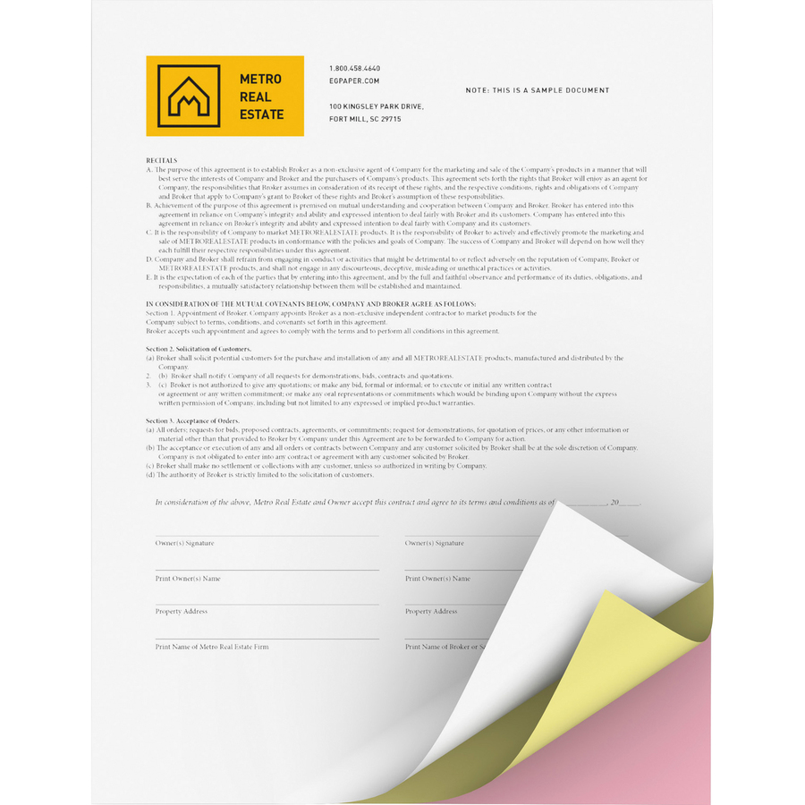 Domtar, Inc Xerox Bold Digital Carbonless Paper - Letter - 8 1/2 X 11 - 22  Lb Basis Weight - 5010 / Carton - White, Yellow, Pink