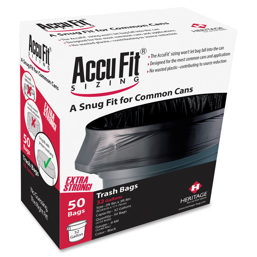 Heritage Accufit Reprime 32 Gallon Can Liners - 32 gal - 33