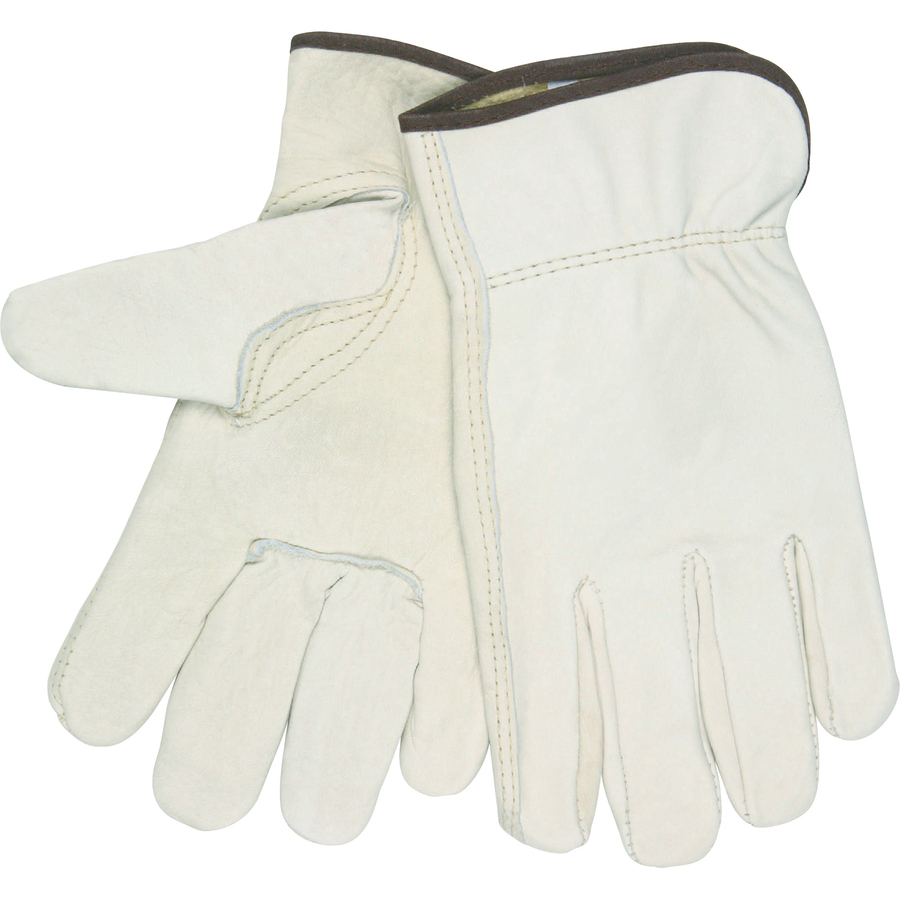 MCR Safety Leather Driver Gloves - Medium Size - Leather - Beige - 2 / Pair