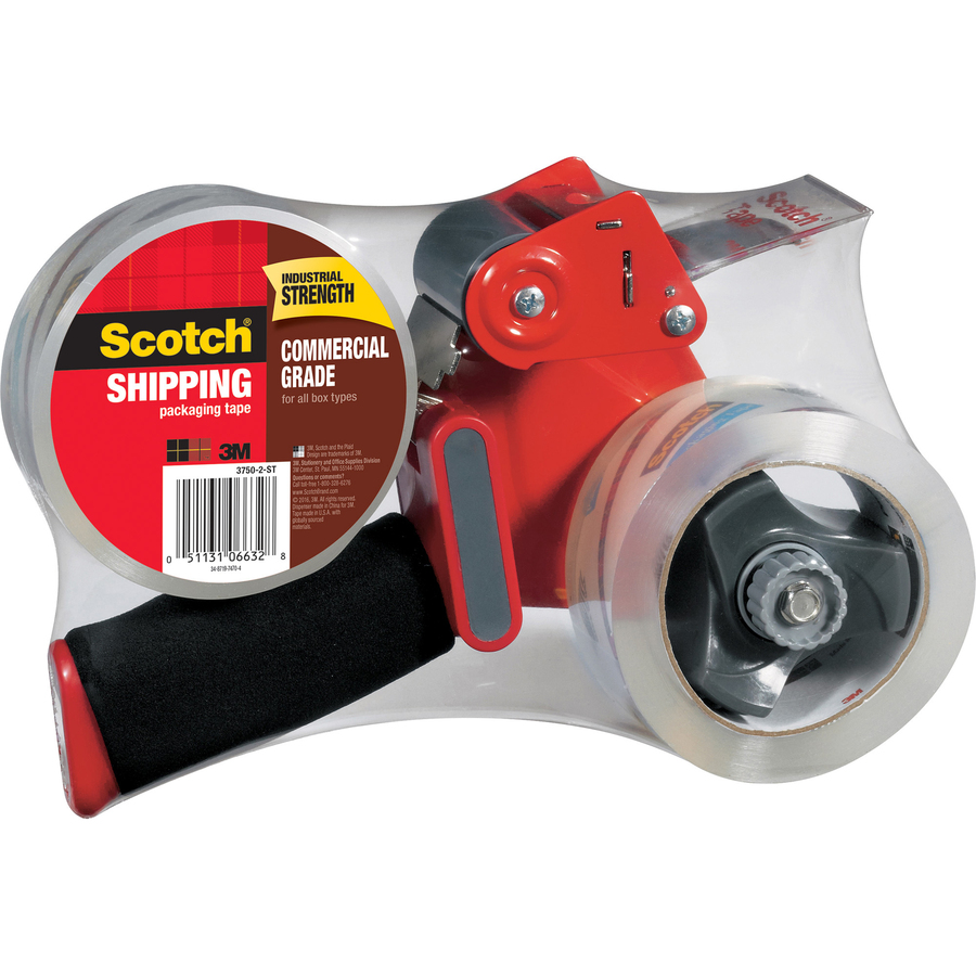 3M Scotch® Commercial Grade Shipping Packaging Tape, 1 88 X 54 60 Yds -  1 88 Width X 54 60 Yd Length - 3 Core - Synthetic Rubber Resin Backing -