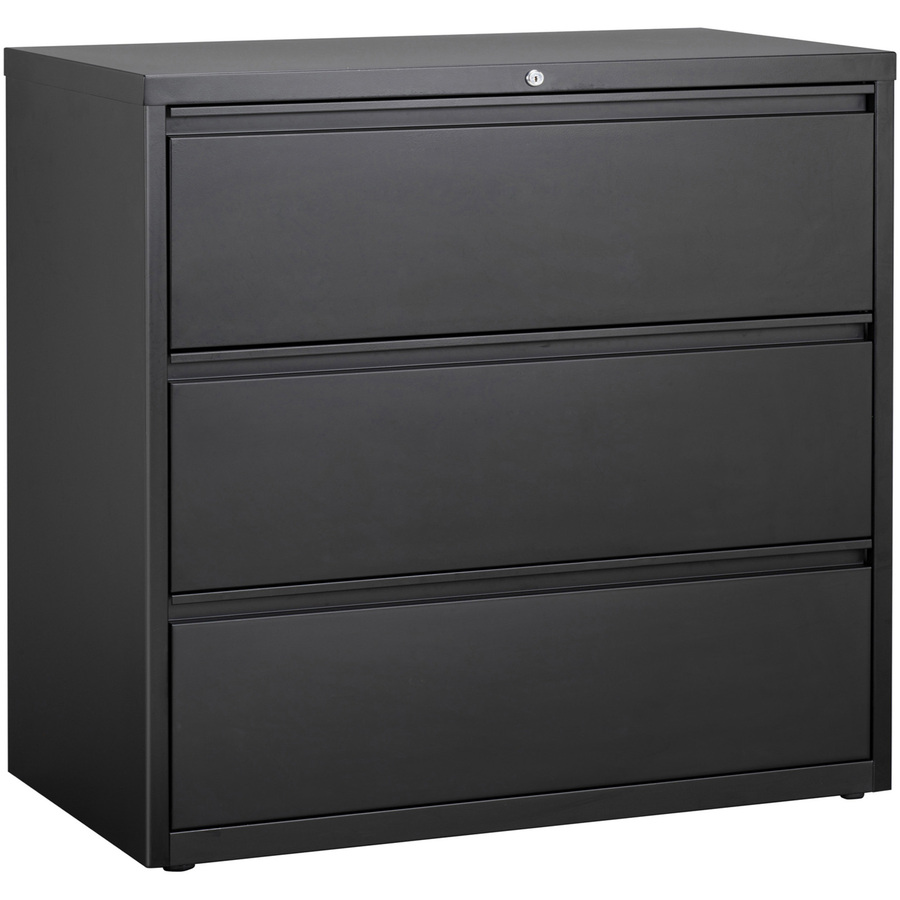 Lorell 3 Drawer Black Lateral Files 42 X 18 6 X 40 3 3 X Drawer S For File Letter Legal A4 Lateral Locking Drawer Magnetic Label