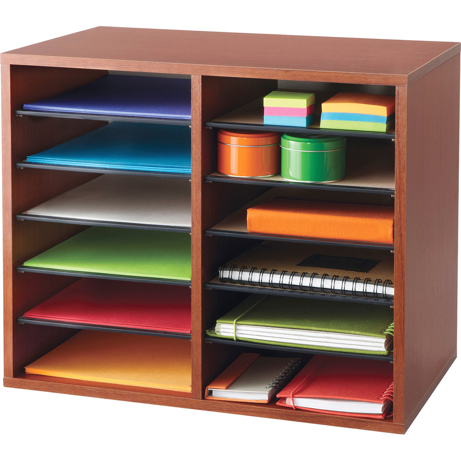 Safco Adjustable 12 Slot Wood Literature Organizer