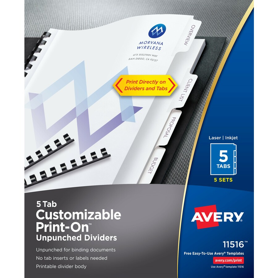 Avery Customizable Print On Dividers Unpunched Latsons Office