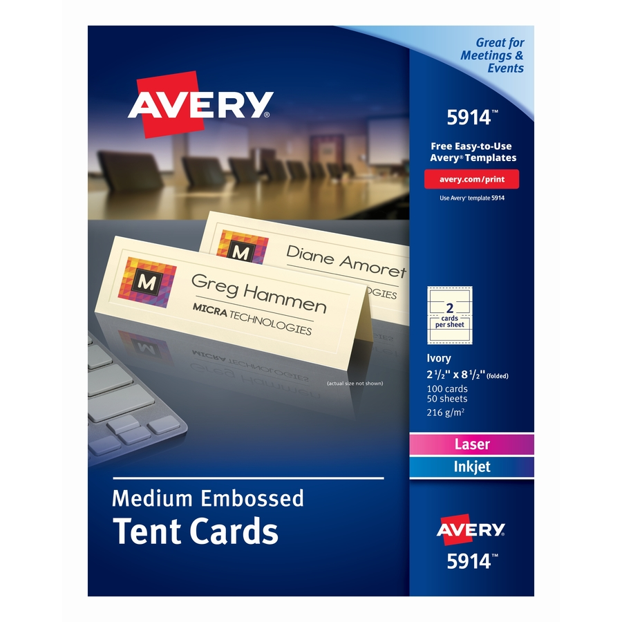 ave5914 avery laser inkjet print tent card office supply hut