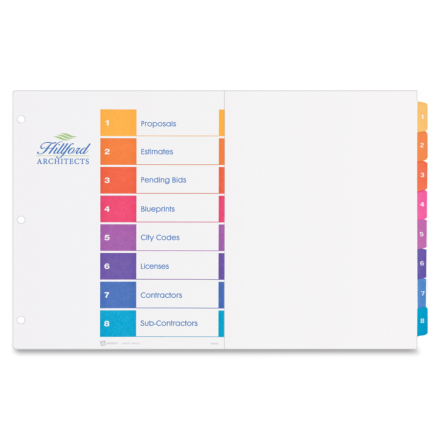 avery ready index dividers 8 tab template choice image template