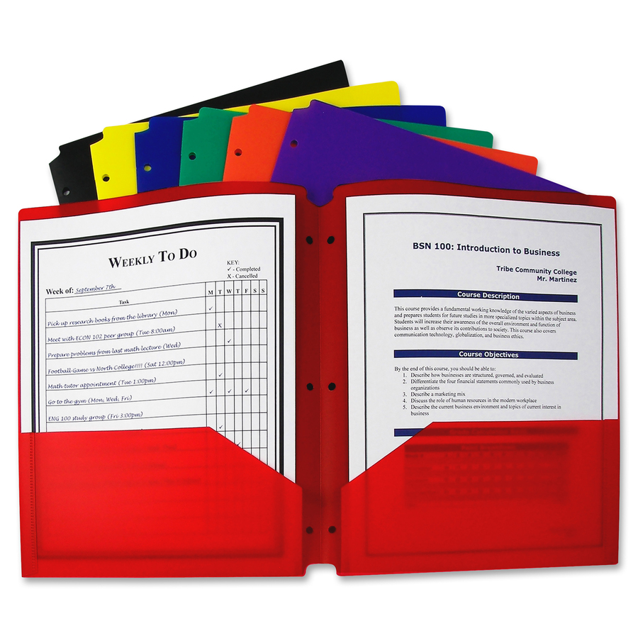 C Line Products Two Pocket Heavyweight Poly Portfolio Folder With Three Hole Punch Orted Primary Colors 1 Color May Vary Letter 8 2 X 11